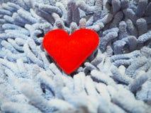 在一张蓝色地毯的红色心脏 图库摄影