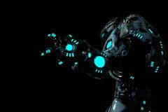 在一张黑暗的背景侧视图的食肉动物的黑和蓝色发光的机器人 向量例证