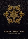 在一张黑背景明信片的金黄雪花 库存图片