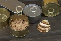 在一张黑暗的木桌上的金枪鱼罐头 罐装鱼销售  饮食食物 库存图片