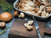 在一张黑暗的桌上的各种各样的未加工的蘑菇与切口公猪 库存照片