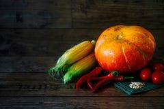 在一张黑暗的桌上的新鲜蔬菜 秋天背景特写镜头上色常春藤叶子橙红 吃健康 南瓜,甜椒,辣椒粉,蕃茄,向日葵 图库摄影