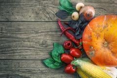 在一张黑暗的桌上的新鲜蔬菜 秋天背景特写镜头上色常春藤叶子橙红 吃健康 南瓜,甜椒,辣椒粉,蕃茄,蓬蒿 免版税图库摄影