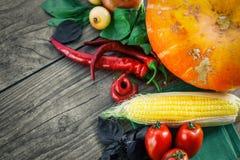 在一张黑暗的桌上的新鲜蔬菜 秋天背景特写镜头上色常春藤叶子橙红 吃健康 南瓜,甜椒,辣椒粉,蕃茄,蓬蒿 免版税库存图片