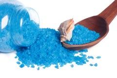 在一把匙子的蓝色腌制槽用食盐和海壳在一个玻璃瓶子旁边 库存图片