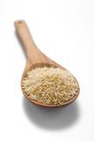 在一把木匙子的茉莉花糙米 免版税库存图片