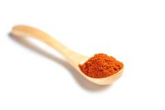 在一把木匙子的辣椒粉 库存图片