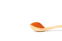 在一把木匙子的辣椒粉 免版税库存图片
