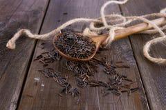 在一把木匙子的黑水菰在土气木背景 库存图片