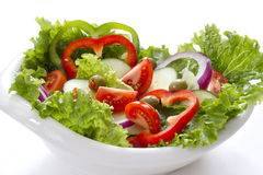 在一把白色弓的菜沙拉 库存照片