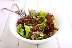 在一把白色弓的蔬菜沙拉 库存图片