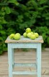 在一把老凳子的自创土气绿色苹果 免版税库存图片