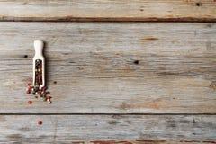 在一把量匙的多彩多姿的胡椒豌豆 免版税图库摄影