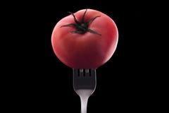 在一把银色叉子刺穿的红色蕃茄 库存照片