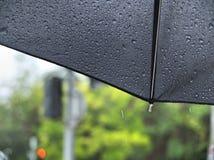 在一把黑伞的雨下落 免版税库存照片
