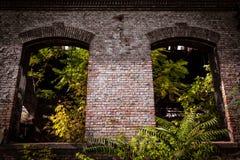 在一排老工厂厂房的窗口框架 库存照片