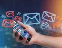 在一未来派interf显示的批准的电子邮件和垃圾短信消息 库存照片