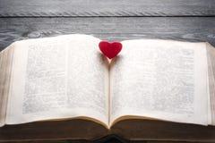 在一本开放书的红色心脏 库存图片