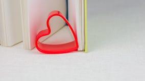 在一本开放日志书的页的之间红色心脏 免版税图库摄影