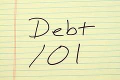 在一本黄色便笺簿的债务101 库存照片