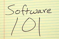 在一本黄色便笺簿的软件101 免版税库存图片