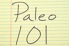 在一本黄色便笺簿的Paleo 101 免版税库存照片