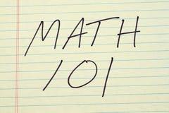 在一本黄色便笺簿的算术101 免版税库存图片