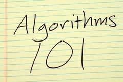 在一本黄色便笺簿的算法101 免版税库存照片