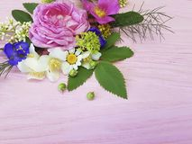在一朵桃红色木背景茉莉花的玫瑰美好的边界设计葡萄酒季节框架,木兰夏天 库存照片