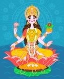 在一朵莲花的Lakshmi在一个平的样式 免版税库存图片