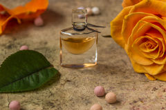 在一朵玻璃瓶和桔子玫瑰色花的香水 库存照片