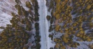 在一条乡下公路的冬日从鸟` s眼睛视图 影视素材