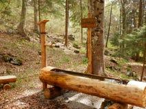 在一条供徒步旅行的小道的饮用水木管子 库存图片