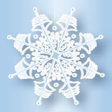 在一条冷淡的螺纹的雪花 免版税库存图片