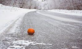 在一条冻冬天路的桔子在森林,方式中在冬天 免版税库存图片