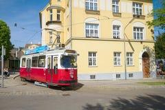 在一条城市街道上的一辆电车在一晴朗的4月天 奥地利维也纳 免版税库存照片