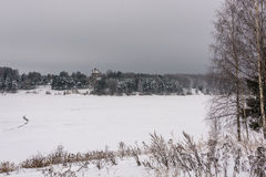 在一条大河的美好的冬天风景 免版税图库摄影