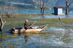 在一条小木小船的划船 库存图片