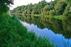 在一条小河和一座桥梁的银行的一棵精采草在距离 免版税库存照片