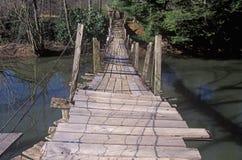 在一条小河的一座走的桥梁在西维吉尼亚 库存图片