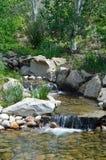 在一条小河的两瀑布在博伊西,爱达荷山麓小丘 免版税图库摄影