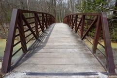 在一条小河的土气金属和木头桥梁在森林里 库存照片