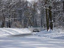 在一条小河的小桥梁在积雪的树之间 免版税库存照片