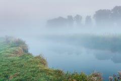 在一条小河的早晨薄雾 库存照片