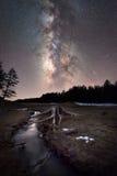 在一条小河附近的树桩在夜空下 免版税库存图片