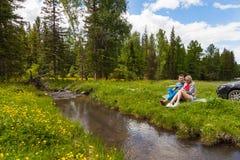 在一条山河的河岸的一顿野餐有绿草和黄色花的以针叶树和蓝色为背景 免版税库存照片