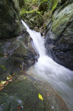 在一条山河的瀑布有峭壁的 免版税库存照片
