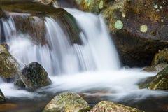 在一条岩石小河的美丽的小瀑布 库存照片
