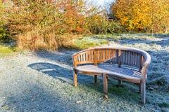 在一条庭院长凳的Fronst在秋天公园风景 库存照片