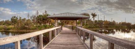在一条木偏僻,平静的木板走道的眺望台 免版税库存照片